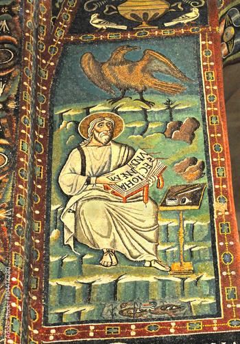Ancient byzantine mosaic of John the Evangelist Poster