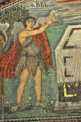 Ancient byzantine mosaic of the old testament Abel Canvas