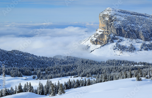 Fotografie, Obraz Mont Granier in the Chartreuse mountains above the clouds on a nice day in winter