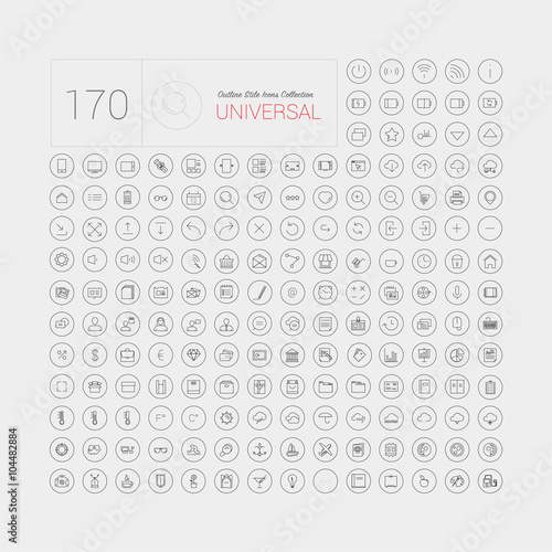 Fotografía  Set of 170 universal modern thin line icons for web and mobile