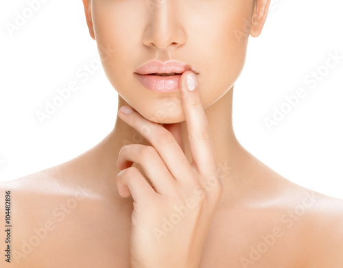 part of a woman's face on a white background, herpes on the lips, Poster
