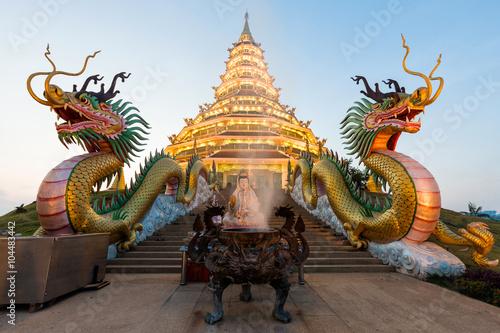 Foto op Plexiglas Bedehuis Landmark Temple wat hyua pla kang (Chinese temple) Chiang Rai, T