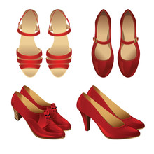 Set Of Various Style Red Shoes Isolated On White Background. Sandal For Woman. Court Shoes. Shoes With Ankle Strap For Spanish Flamenco Dance. Classic Shoes With Laces On Middle Heel.