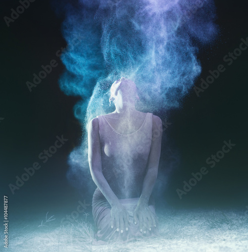 creative portrait.low grain and dust added for create atmosphere Poster