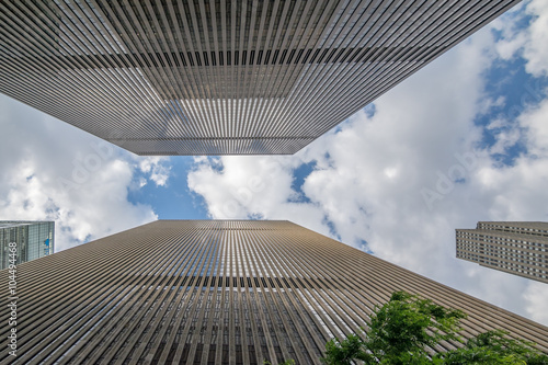 New York Skyscraper with blue sky and white clouds