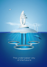 Futuristic Floating Eco Friendly Underwater City. Vector Iilustration