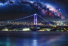 Bosphorus Bridge At Night, Istanbul