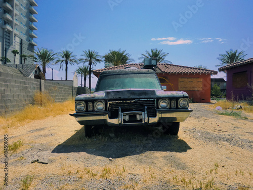 Photo  Old vintage hearse front view outdoors - landscape color photo