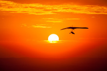 Hang Gliding In The Sunset