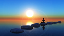3D Female In Yoga Pose On Stepping Stones In The Ocean
