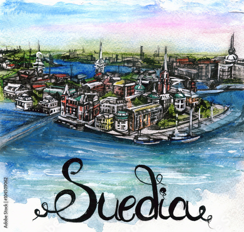 Photo  the panoramic view of Sweden watercolor of european union