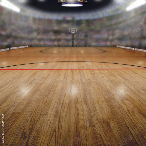 fototapeta na drzwi i meble Basketball Arena With Copy Space Background. Rendered in Photoshop.