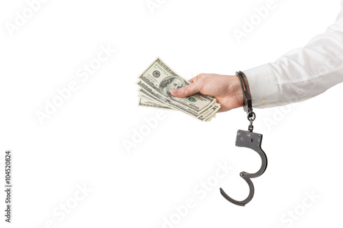 Hand with money in handcuffs плакат