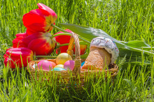 Basket With Easter Eggs, Tulip...