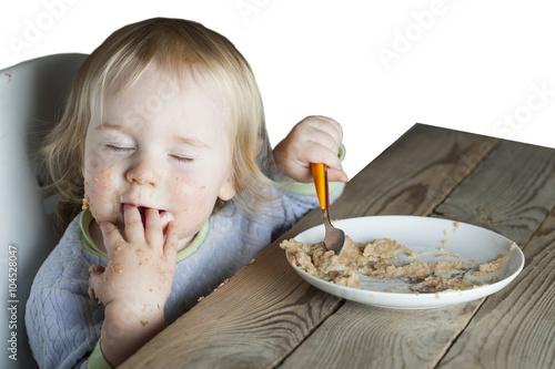 Foto op Canvas Kruidenierswinkel baby feeding spoon