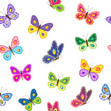 Beautiful seamless pattern with colorful butterflies.  Vector illustration.