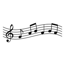 Music Notes On Stave. Vector Illustration Isolated White Background.