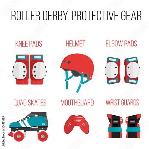 Vector set of flat roller derby protective gear Fototapeta