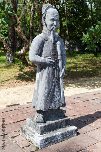 Old statue in Imperial Minh Mang Tomb in  Hue Canvas Print