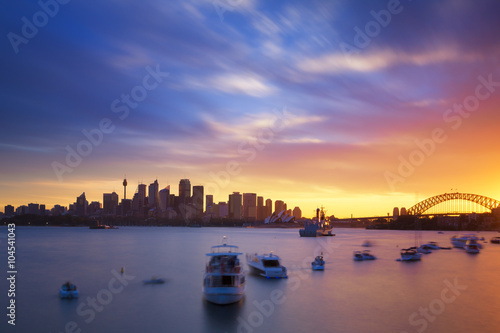 fototapeta na drzwi i meble Australia Sydney city CBD view from cremorne point over harbour waters at sunset, taken by long exposure technique