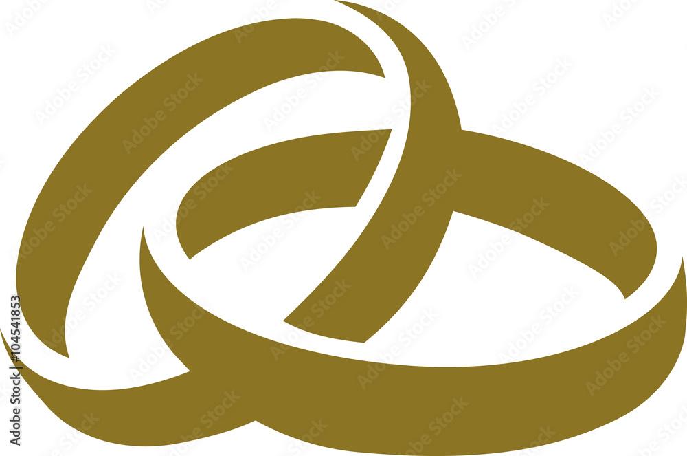 Fototapety, obrazy: Icon of golden wedding rings