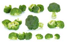 Fresh Broccoli Isolated On The White Background