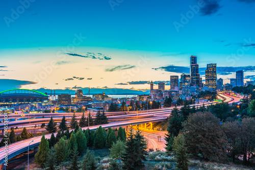 Seattle skylines and Interstate freeways converge with Elliott Bay,Seattle,Washington,usa фототапет