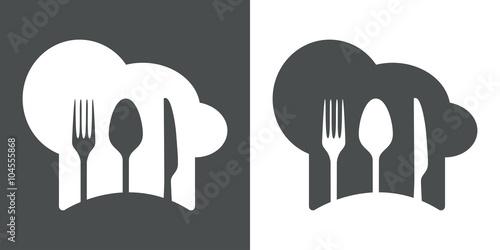 Fotografie, Obraz  Icono plano gorro de cocinero y cubiertos #2