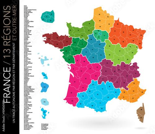 carte de france avec régions Carte de France / 13 régions / Départements avec numéros et liste