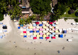 Top View of Colorful Umbrellas in Famous Beach in Brazil
