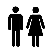 Men And Women Silhouette, Black Simple Icons On White
