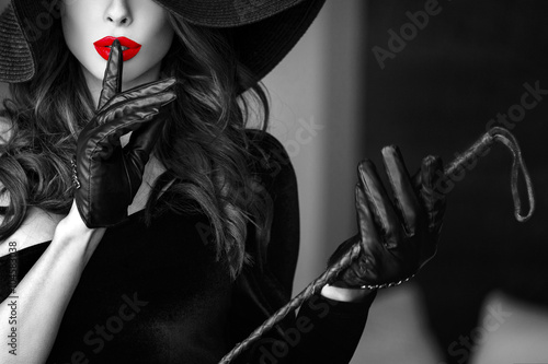 Fototapeta Sexy woman in hat showing no talk selective coloring obraz