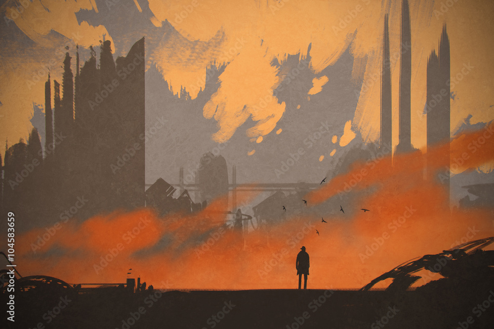 Fototapety, obrazy: man standing at abandoned city,illustration painting