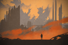 Man Standing At Abandoned City,illustration Painting