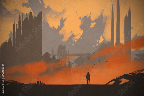 Fotografie, Obraz  man standing at abandoned city,illustration painting