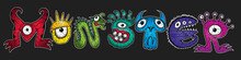 Colored Mutant Cartoon Character Monsters Vector Illustrations