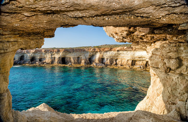 View from sea cave, Ayia Napa, Cyprus