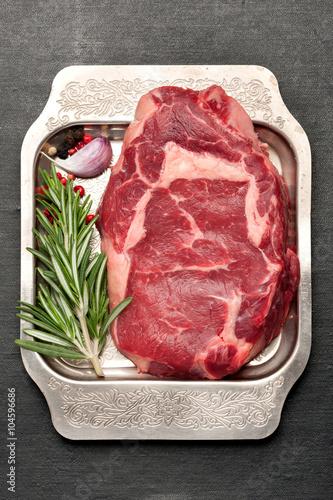 Fotografie, Tablou  Ribeye steak prepared for roasting