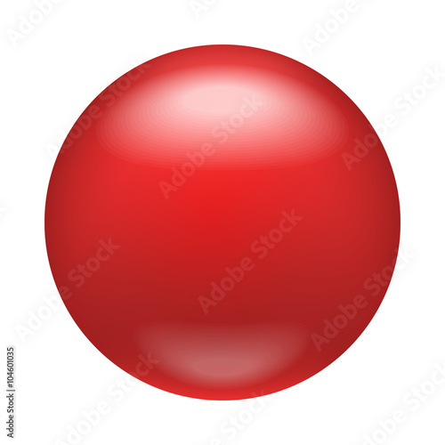 In de dag Bol Glossy red badge, magnet icon, realistic style