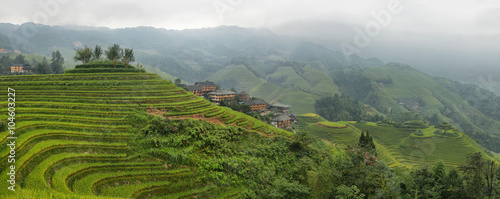 Fotobehang Rijstvelden Views of green Longji terraced fields