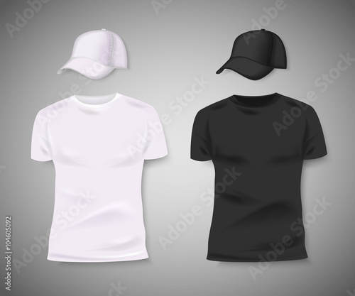 Fotografía  Collection of men black and white t-shirt and baseball cap front side