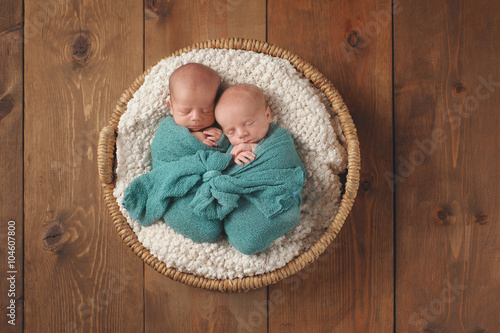 Valokuva  Twin Baby Boys Sleeping in a Basket