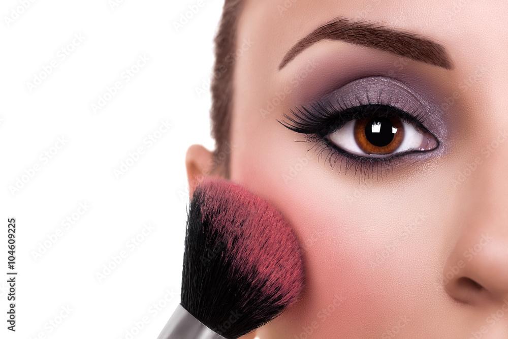 Eye Make Up Model And Blush Makeup Woman Fotografie Tablou