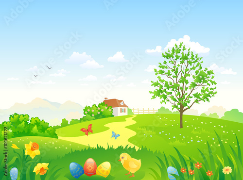 In de dag Groene koraal Green Easter countryside