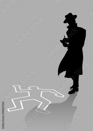 Fotografía  Silhouette illustration of a detective on crime scene