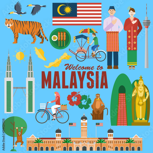 Fotografía  Flat design, Illustration of Malaysia's landmarks and icons