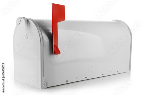 Metal mailbox isolated on white