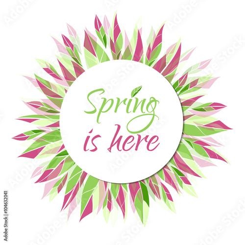 Fotografía  Spring is here. Vector card, banner, tag, label