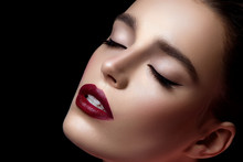 Closeup Of Girl With Dark Red Lips