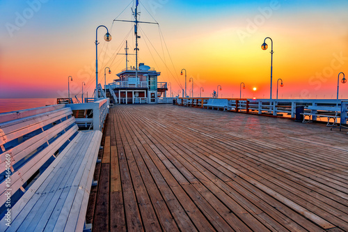 obraz dibond Sunrise at wooden pier in Sopot, Poland.